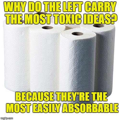 why do the left carry the most toxic ideas? | WHY DO THE LEFT CARRY THE MOST TOXIC IDEAS? BECAUSE THEY'RE THE MOST EASILY ABSORBABLE | image tagged in leftists,left wing | made w/ Imgflip meme maker