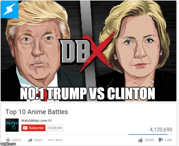 Top 10 anime battle (TrumpvsClinton | NO.1 TRUMP VS CLINTON | image tagged in anime,top 10,donald trump | made w/ Imgflip meme maker