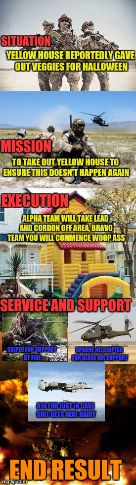 Inspired by woldythekitty and kenj Military week A chad-,Dashhopes, spursfanfromaround, and JBmemegeek event | SITUATION END RESULT MISSION YELLOW HOUSE REPORTEDLY GAVE OUT VEGGIES FOR HALLOWEEN TO TAKE OUT YELLOW HOUSE TO ENSURE THIS DOESN'T HAPPEN A | image tagged in chad-,dashhopes,spursfanfromaround,jbmemegeek,military week | made w/ Imgflip meme maker