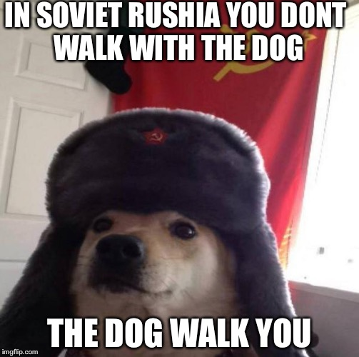Russian Doge | IN SOVIET RUSHIA YOU DONT WALK WITH THE DOG THE DOG WALK YOU | image tagged in russian doge | made w/ Imgflip meme maker