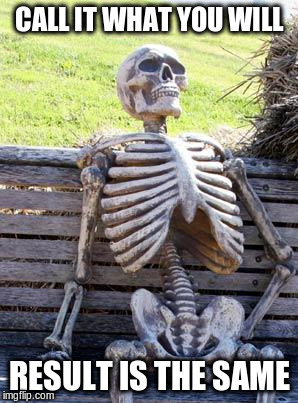 Waiting Skeleton Meme | CALL IT WHAT YOU WILL RESULT IS THE SAME | image tagged in memes,waiting skeleton | made w/ Imgflip meme maker
