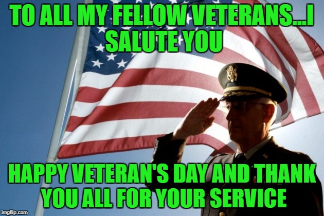 Happy Veteran's Day!!! Military Week Nov 5-11th a Chad-, DashHopes, JBmemegeek & SpursFanFromAround event |  TO ALL MY FELLOW VETERANS...I SALUTE YOU; HAPPY VETERAN'S DAY AND THANK YOU ALL FOR YOUR SERVICE | image tagged in happy veteran's day,memes,military week,military,honorable,thank you | made w/ Imgflip meme maker