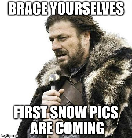 Brace Yourselves First Snow Pics Are Coming  | BRACE YOURSELVES FIRST SNOW PICS ARE COMING | image tagged in brace yourself,snow,first snow | made w/ Imgflip meme maker