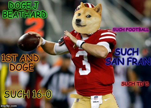 OK? | DOGE.J BEATHARD SUCH SAN FRAN SUCH 16-0 SUCH FOOTBALL SUCH TD'S 1ST AND DOGE | image tagged in sf,doge,football | made w/ Imgflip meme maker