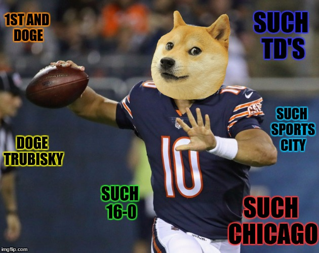 Chi-town Doge Pride! | DOGE TRUBISKY SUCH 16-0 SUCH CHICAGO 1ST AND DOGE SUCH TD'S SUCH SPORTS CITY | image tagged in football,doge,football doge,chicago,memes | made w/ Imgflip meme maker