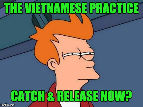 Futurama Fry Meme | THE VIETNAMESE PRACTICE CATCH & RELEASE NOW? | image tagged in memes,futurama fry | made w/ Imgflip meme maker