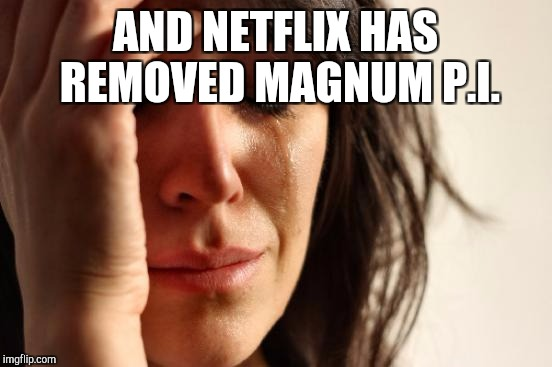 First World Problems Meme | AND NETFLIX HAS REMOVED MAGNUM P.I. | image tagged in memes,first world problems | made w/ Imgflip meme maker