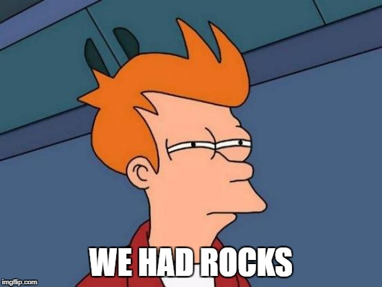 Futurama Fry Meme | WE HAD ROCKS | image tagged in memes,futurama fry | made w/ Imgflip meme maker