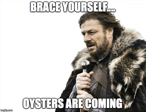 Brace Yourselves X is Coming Meme | BRACE YOURSELF.... OYSTERS ARE COMING | image tagged in memes,brace yourselves x is coming | made w/ Imgflip meme maker