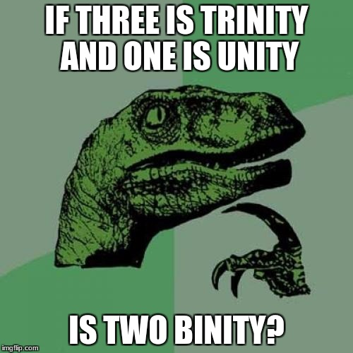 Philosoraptor Meme | IF THREE IS TRINITY AND ONE IS UNITY IS TWO BINITY? | image tagged in memes,philosoraptor | made w/ Imgflip meme maker