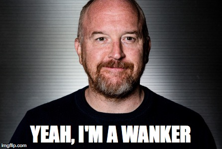 YEAH, I'M A WANKER | image tagged in louis ck,sexual harassment | made w/ Imgflip meme maker