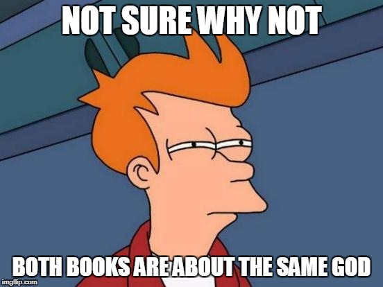Futurama Fry Meme | NOT SURE WHY NOT BOTH BOOKS ARE ABOUT THE SAME GOD | image tagged in memes,futurama fry | made w/ Imgflip meme maker