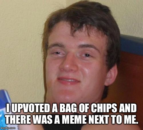 10 Guy Meme | I UPVOTED A BAG OF CHIPS AND THERE WAS A MEME NEXT TO ME. | image tagged in memes,10 guy | made w/ Imgflip meme maker