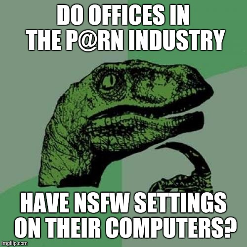 ....Or workers at Victorias Secret?.... | DO OFFICES IN THE P@RN INDUSTRY HAVE NSFW SETTINGS ON THEIR COMPUTERS? | image tagged in memes,philosoraptor,sewmyeyesshut | made w/ Imgflip meme maker