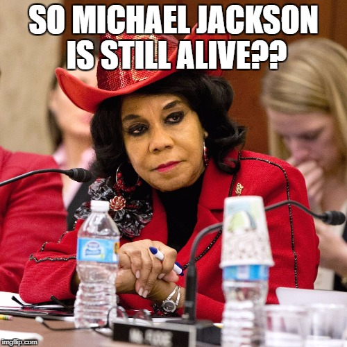 SO MICHAEL JACKSON IS STILL ALIVE?? | image tagged in frederica wilson,libtard,ugly,michael jackson | made w/ Imgflip meme maker