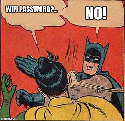 Batman Slapping Robin Meme | WIFI PASSWORD?... NO! | image tagged in memes,batman slapping robin | made w/ Imgflip meme maker