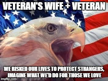 Patriotic Eagle | VETERAN'S WIFE + VETERAN WE RISKED OUR LIVES TO PROTECT STRANGERS, IMAGINE WHAT WE'D DO FOR THOSE WE LOVE | image tagged in patriotic eagle | made w/ Imgflip meme maker