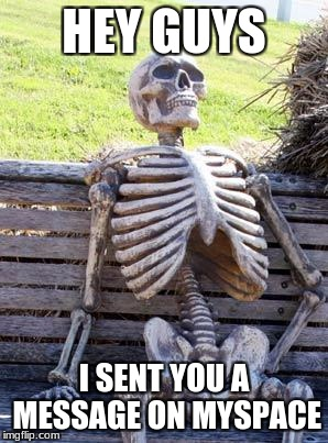 Waiting Skeleton Meme | HEY GUYS I SENT YOU A MESSAGE ON MYSPACE | image tagged in memes,waiting skeleton | made w/ Imgflip meme maker
