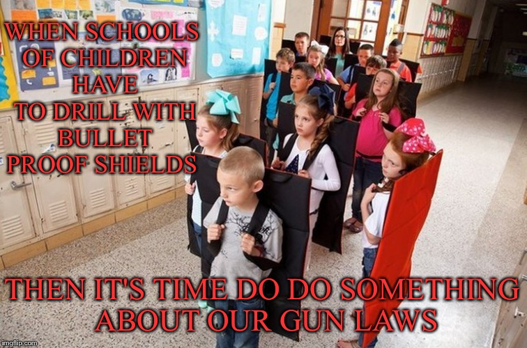 It's Time... | WHEN SCHOOLS OF CHILDREN HAVE TO DRILL WITH BULLET PROOF SHIELDS THEN IT'S TIME DO DO SOMETHING ABOUT OUR GUN LAWS | image tagged in gun control,bullet,proof,shields,children,schools | made w/ Imgflip meme maker