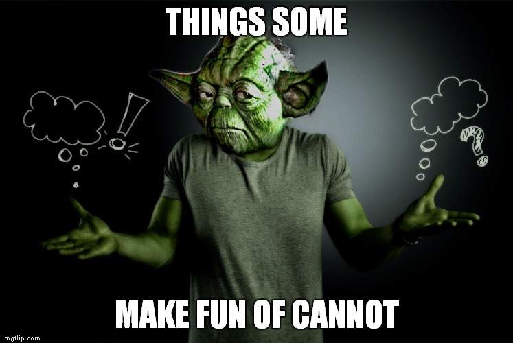 yoda shrug | THINGS SOME MAKE FUN OF CANNOT | image tagged in yoda shrug | made w/ Imgflip meme maker
