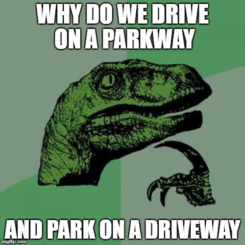 Philosoraptor Meme | WHY DO WE DRIVE ON A PARKWAY AND PARK ON A DRIVEWAY | image tagged in memes,philosoraptor | made w/ Imgflip meme maker