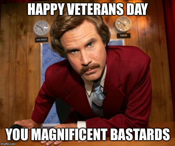 Ron Burgundy | HAPPY VETERANS DAY YOU MAGNIFICENT BASTARDS | image tagged in ron burgundy | made w/ Imgflip meme maker