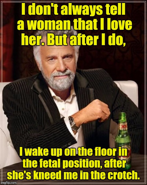 The Most Interesting Man In The World Meme | I don't always tell a woman that I love her. But after I do, I wake up on the floor in the fetal position, after she's kneed me in the crotc | image tagged in memes,the most interesting man in the world | made w/ Imgflip meme maker