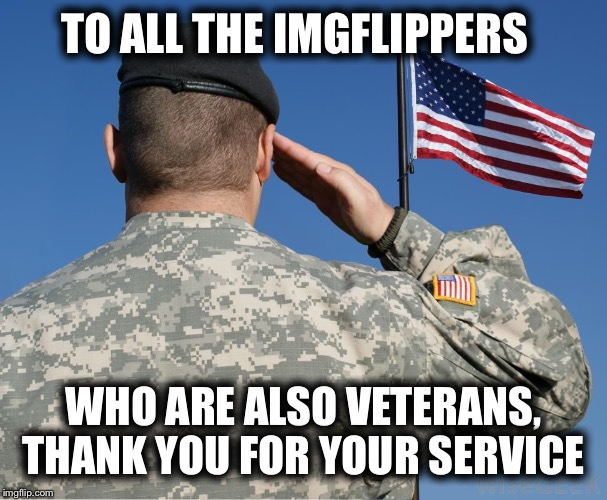 Today is your day and we salute you | TO ALL THE IMGFLIPPERS WHO ARE ALSO VETERANS, THANK YOU FOR YOUR SERVICE | image tagged in veterans day,grateful,heroes | made w/ Imgflip meme maker