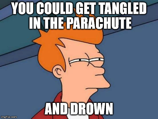 Futurama Fry Meme | YOU COULD GET TANGLED IN THE PARACHUTE AND DROWN | image tagged in memes,futurama fry | made w/ Imgflip meme maker