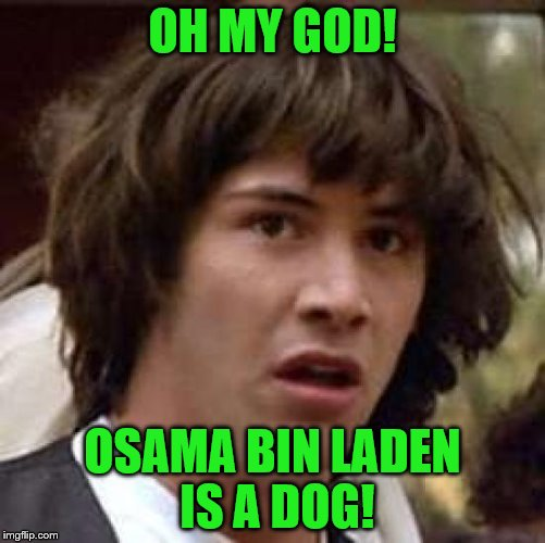 Conspiracy Keanu Meme | OH MY GOD! OSAMA BIN LADEN IS A DOG! | image tagged in memes,conspiracy keanu | made w/ Imgflip meme maker