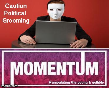Beware political grooming | image tagged in beware caution political grooming students momentum | made w/ Imgflip meme maker