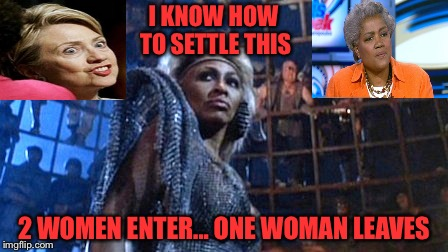 Thunderdome | I KNOW HOW TO SETTLE THIS 2 WOMEN ENTER... ONE WOMAN LEAVES | image tagged in thunderdome | made w/ Imgflip meme maker