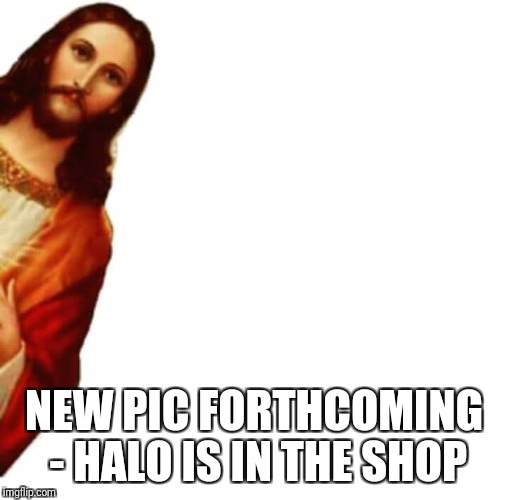 Profile Pic Placeholder | NEW PIC FORTHCOMING - HALO IS IN THE SHOP | image tagged in jesus,facebook,profile picture | made w/ Imgflip meme maker