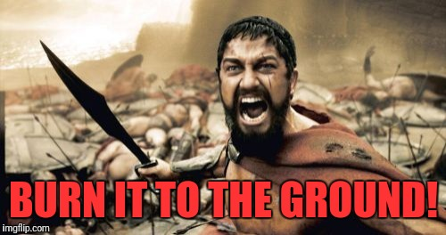 Sparta Leonidas Meme | BURN IT TO THE GROUND! | image tagged in memes,sparta leonidas | made w/ Imgflip meme maker