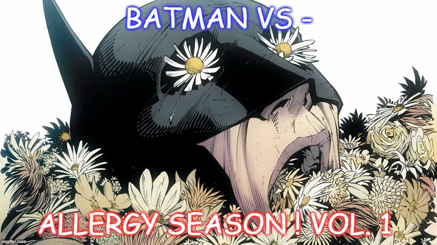 Batman vs Allergy season Volume 1 | BATMAN VS - ALLERGY SEASON ! VOL. 1 | image tagged in batman vs allergy season,comics/cartoons,superheroes | made w/ Imgflip meme maker