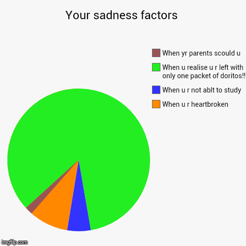 Your sadness factors | When u r heartbroken, When u r not ablt to study, When u realise u r left with only one packet of doritos!!, When yr  | image tagged in funny,pie charts | made w/ Imgflip pie chart maker