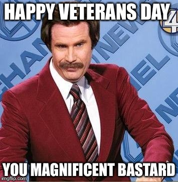 Ron Burgundy | HAPPY VETERANS DAY YOU MAGNIFICENT BASTARD | image tagged in ron burgundy | made w/ Imgflip meme maker