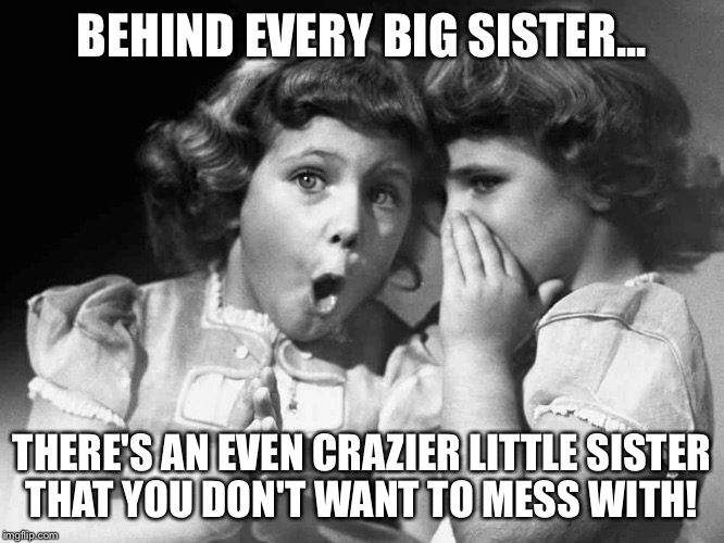 BEHIND EVERY BIG SISTER... THERE'S AN EVEN CRAZIER LITTLE SISTER THAT YOU DON'T WANT TO MESS WITH! | image tagged in sisters | made w/ Imgflip meme maker
