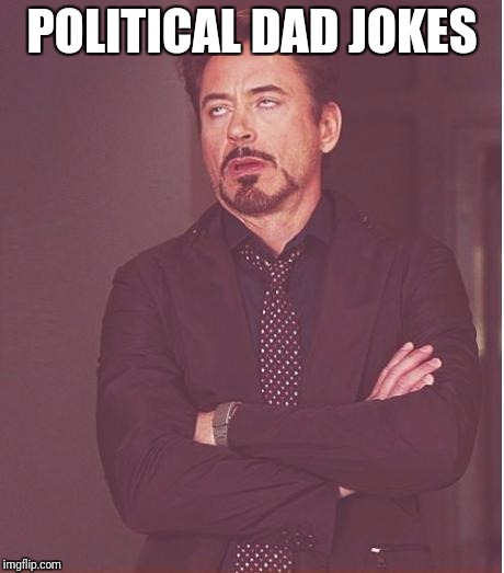 Face You Make Robert Downey Jr Meme | POLITICAL DAD JOKES | image tagged in memes,face you make robert downey jr | made w/ Imgflip meme maker