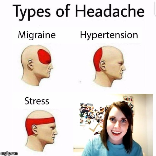 Overly Attached Girlfriend Weekend, a Socrates, isayisay and Craziness_all_the_way event on Nov 10-12th. | image tagged in overly attached girlfriend,headache | made w/ Imgflip meme maker