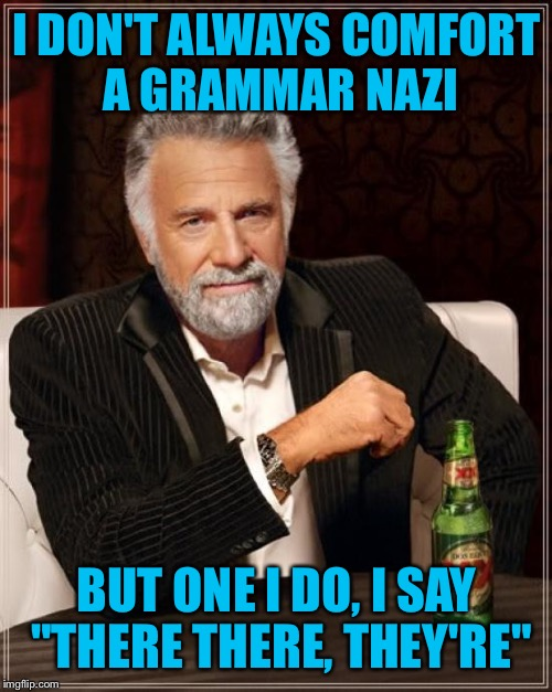 "The Most Interesting Man In The World Meme | I DON'T ALWAYS COMFORT A GRAMMAR NAZI BUT ONE I DO, I SAY ""THERE THERE, THEY'RE"" 