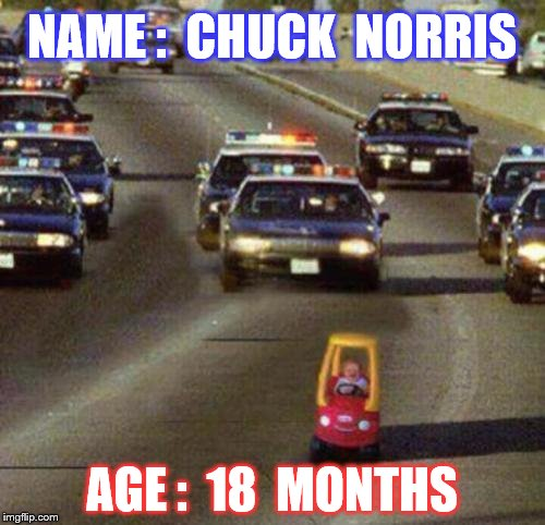 NAME :  CHUCK  NORRIS AGE :  18  MONTHS | made w/ Imgflip meme maker