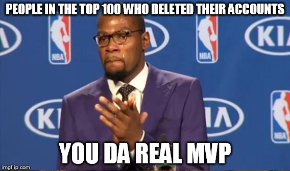 PEOPLE IN THE TOP 100 WHO DELETED THEIR ACCOUNTS YOU DA REAL MVP | made w/ Imgflip meme maker