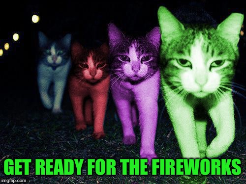 Wrong Neighborhood RayCats | GET READY FOR THE FIREWORKS | image tagged in wrong neighborhood raycats | made w/ Imgflip meme maker