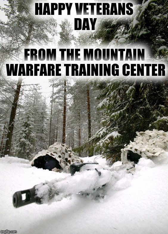 Happy Veterans Day.  Thank you for your service.   |  HAPPY VETERANS DAY; FROM THE MOUNTAIN WARFARE TRAINING CENTER | image tagged in veteran nation,veterans day,mountain warfare training center | made w/ Imgflip meme maker