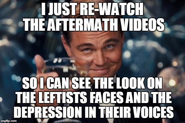 Leonardo Dicaprio Cheers Meme | I JUST RE-WATCH THE AFTERMATH VIDEOS SO I CAN SEE THE LOOK ON THE LEFTISTS FACES AND THE DEPRESSION IN THEIR VOICES | image tagged in memes,leonardo dicaprio cheers | made w/ Imgflip meme maker