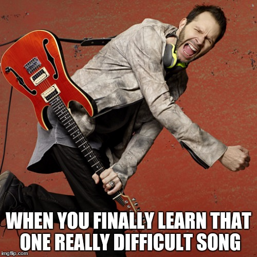 When Paul Gilbert Learns a Song on Guitar | WHEN YOU FINALLY LEARN THAT ONE REALLY DIFFICULT SONG | image tagged in paul gilbert,guitar,music,guitar god,funny,custom template | made w/ Imgflip meme maker