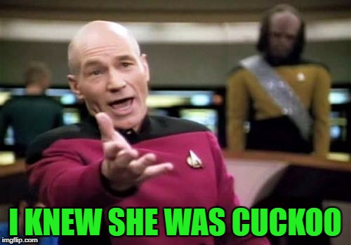 Picard Wtf Meme | I KNEW SHE WAS CUCKOO | image tagged in memes,picard wtf | made w/ Imgflip meme maker