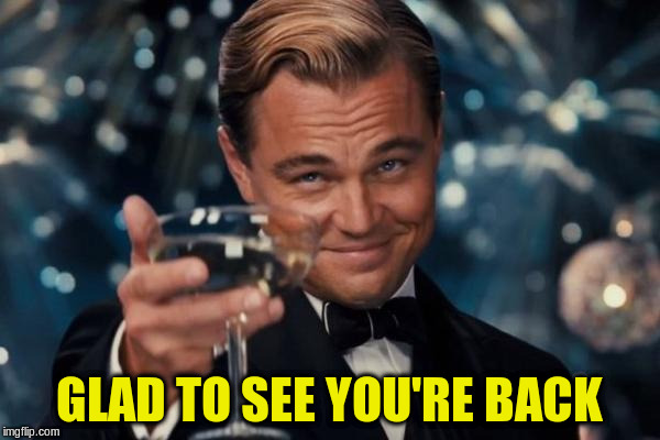 Leonardo Dicaprio Cheers Meme | GLAD TO SEE YOU'RE BACK | image tagged in memes,leonardo dicaprio cheers | made w/ Imgflip meme maker