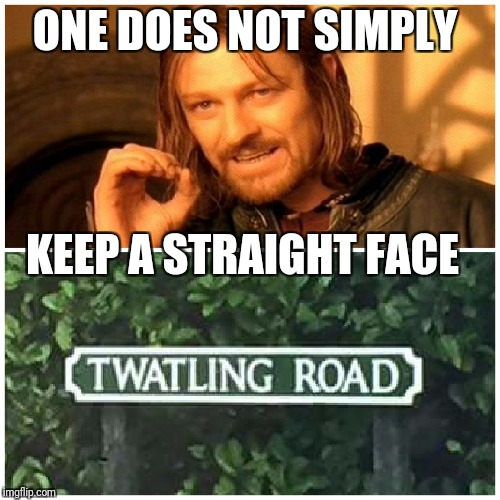 ONE DOES NOT SIMPLY KEEP A STRAIGHT FACE | image tagged in one does not simply,road,memes,stupidity,names | made w/ Imgflip meme maker